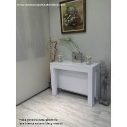Table en Stock avec pied pivotant en laqué blanc 100x40