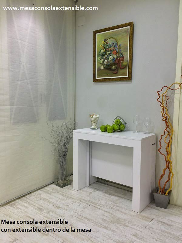 Mesa consola extensible en mesa de comedor multifuncion - Mesas comedor plegables tipo consola ...