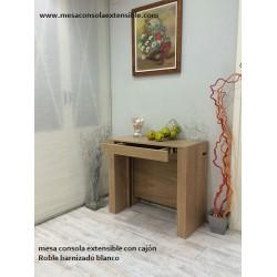 Table console avec tiroir et extensibles incorporés dans la table