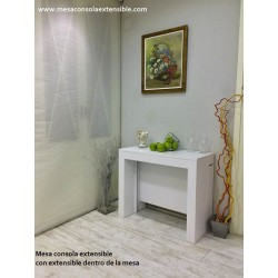 Table console extensibles incorpore laqué blanc 100x40