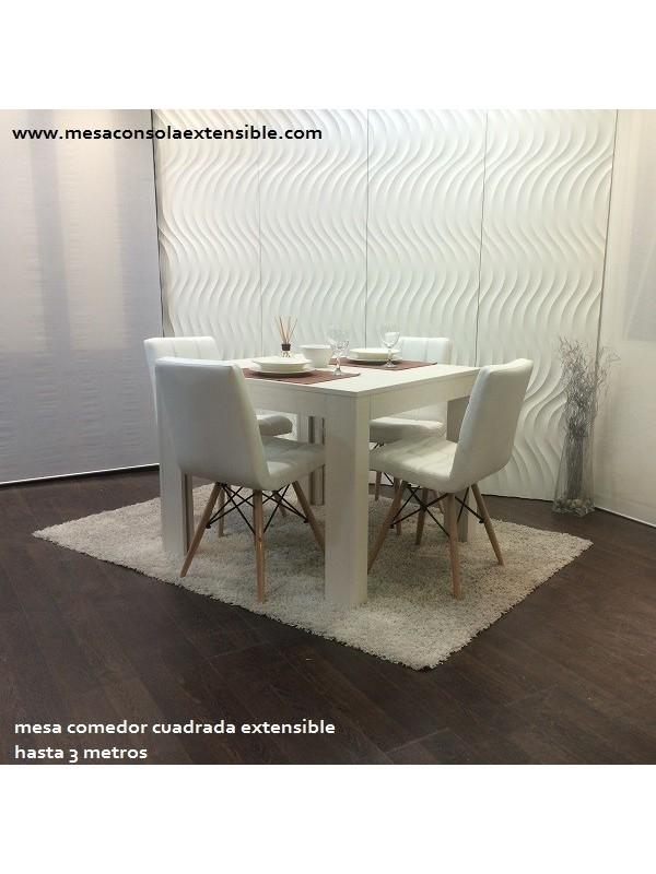 Mesa comedor extensible hasta 3 m cuadrada rectangular for Mesa comedor pequena