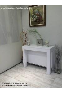 Mesa en Stock con pata giratoria en laca blanca 100x40
