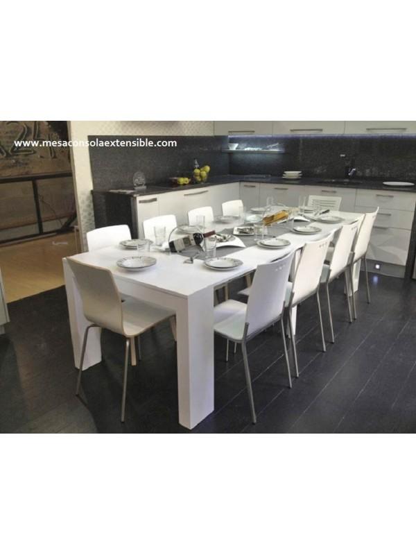 Mesa consola extensible extragrande en color blanco, madera, haya salon