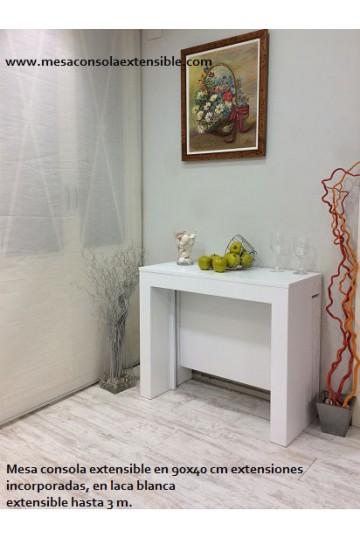Extensibles incorporados 100 x 40 laca blanca extensible hasta 3 metros