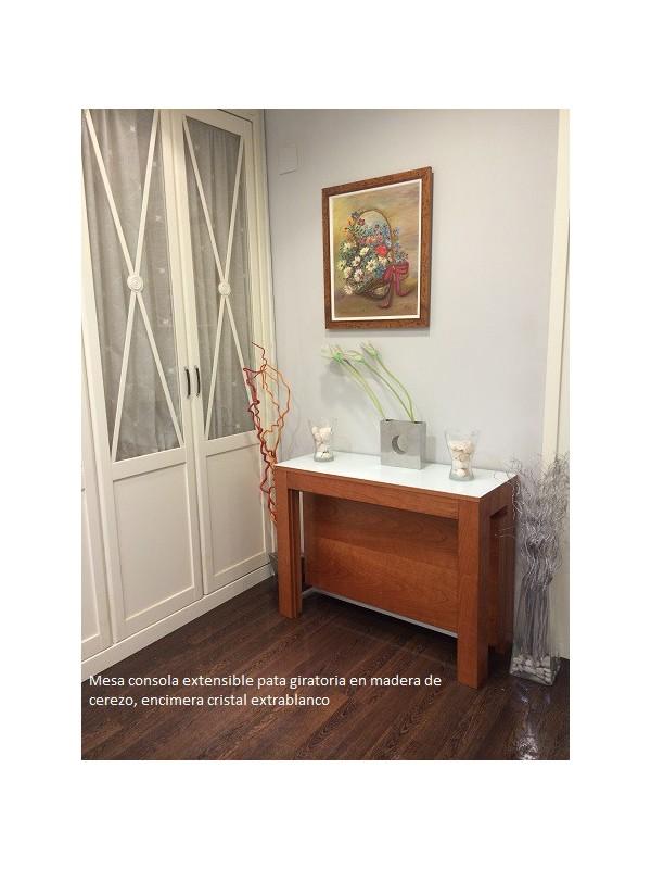 Mesa consola extensible en mesa de comedor con pata for Mesa comedor pata central