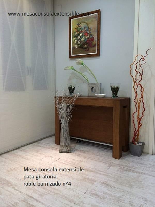 Mesa consola extensible con pata giratoria