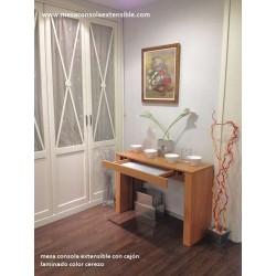 Mesa consola con cajon y extensibles independientes