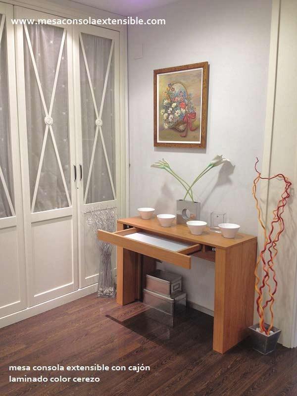 Mesa consola extensible cajón y estrecha desde 35 cm de fondo, blanca