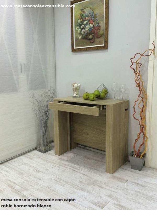Mesa consola extensible con cajón y estrecha desde 35 cm de fondo ...