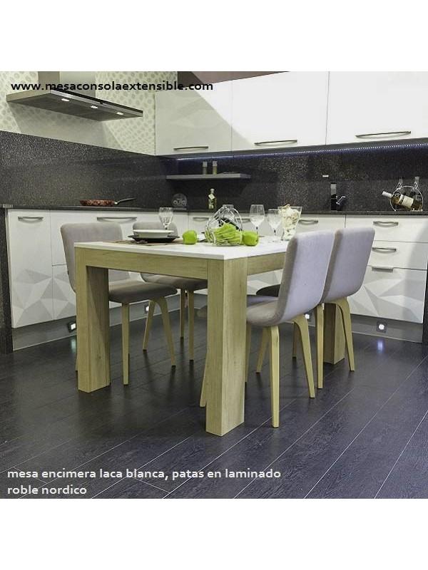 Mesa comedor extensible estilo nordico a medida extensible a 3 metros